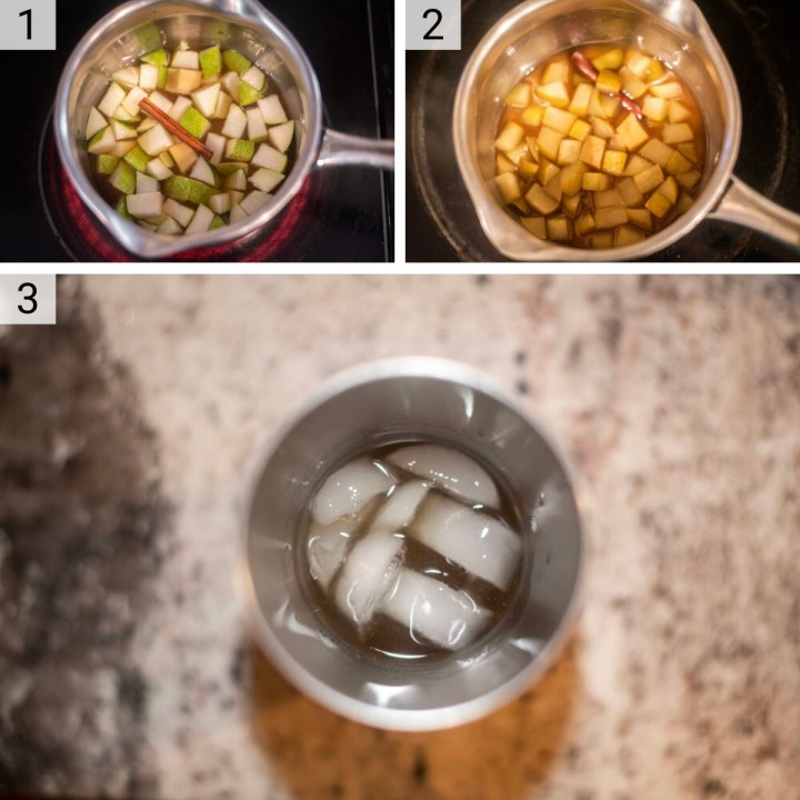 process shots of how to make a pear cocktail