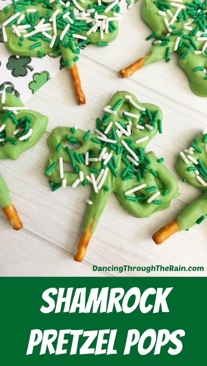 shamrock pretzel pops on white background