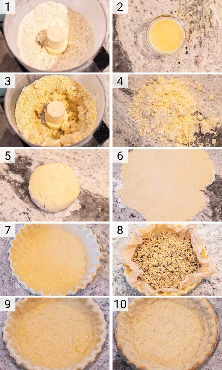 process shots of how to make pie dough and partially blind bake it