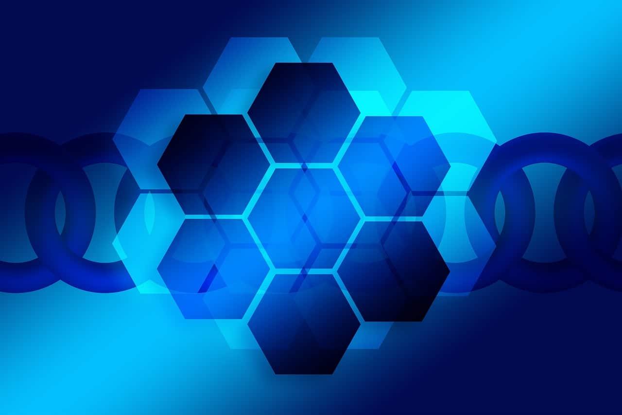 青い六角形のイラスト