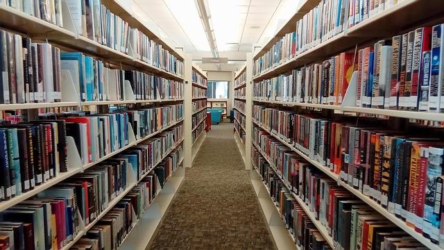 図書館の棚に並べられたたくさんの本
