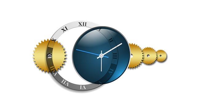 きれいな時計と歯車のイラスト