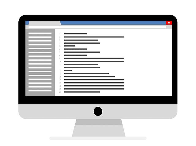プログラムが表示されているパソコンの画面の絵
