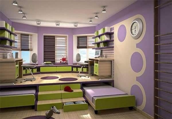 Dormitorios juveniles con colores arlequin for Habitaciones juveniles dobles