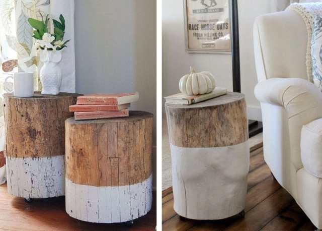 Arredare-casa-con-ceppi-di-legno-Tavolini-bicolore-con-le-rotelle