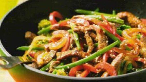 verduras con cordero wok