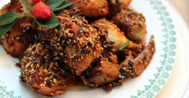 Pollo-especiado-soja y miel sesamo