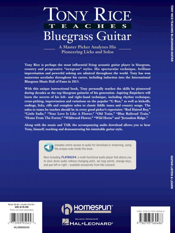 RICE TONY TEACHES BLUEGRASS GUITAR BOOK Amp CD TABLATURE