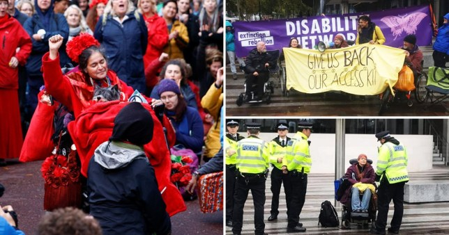 Disabled protesters demanded the return of wheelchairs and ramps 'confiscated by police' (Picture: Reuters; Extinction Rebellion Disabled Rebels) Read more: https://metro.co.uk/2019/10/13/disabled-protesters-demand-return-wheelchairs-ramps-confiscated-police-10912185/?ito=cbshare Twitter: https://twitter.com/MetroUK | Facebook: https://www.facebook.com/MetroUK/