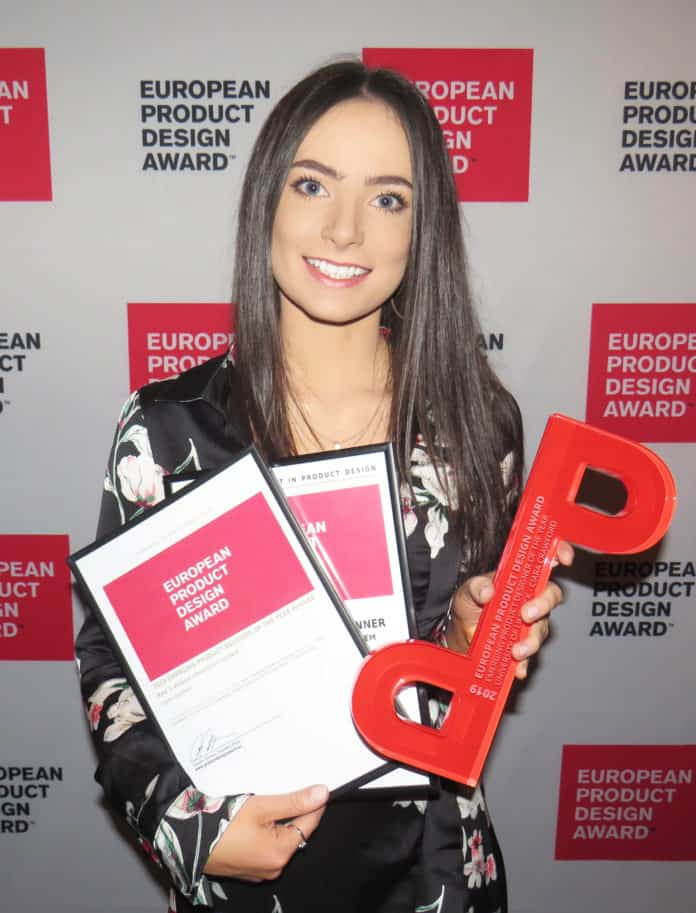 Corbally designer Ciara Crawford at the European Product Design awards in Budapest for her wheelchair travel.