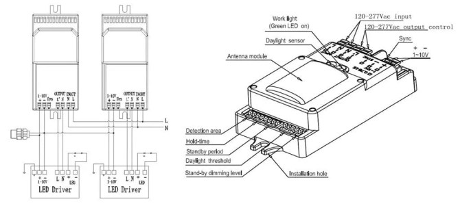 led shoebox light wiring diagram with motion sensor  photocell