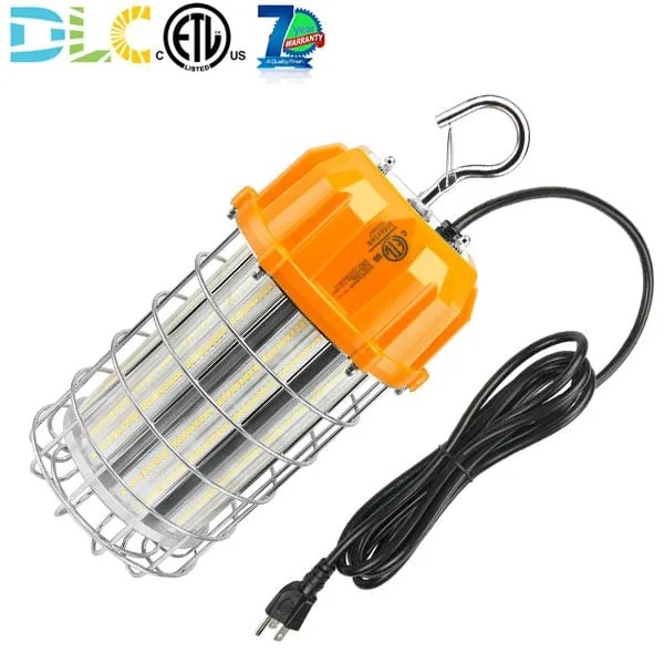 150w construction site task lighting led temporary high bay fixture with stainless steel cage 10ft plug 22 500 lumens 600w metal halide hps