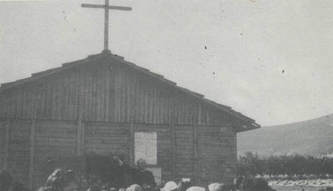 """la """"capanna"""" in Via Chiusure, prima """"chiesa"""" del quartiere. Fine anni '40."""
