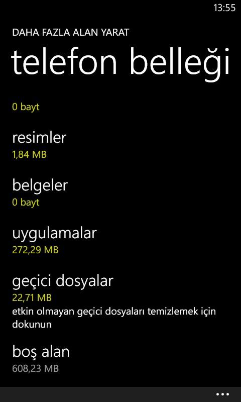 Windows Phone 8 daha fazla alan yarat