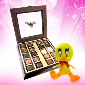 Authentic Assortment Chocolate with Lovely Teddy