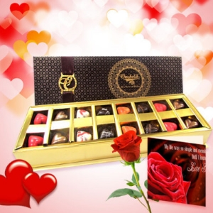 Love Carnival Chocolates with Rose and Love Card