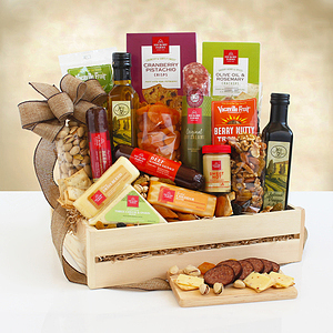 A Supersized Meat & Cheese Wooden Gift Crate