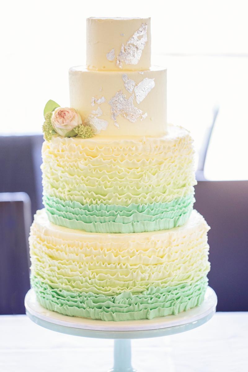 Mint ombre ruffle wedding cake