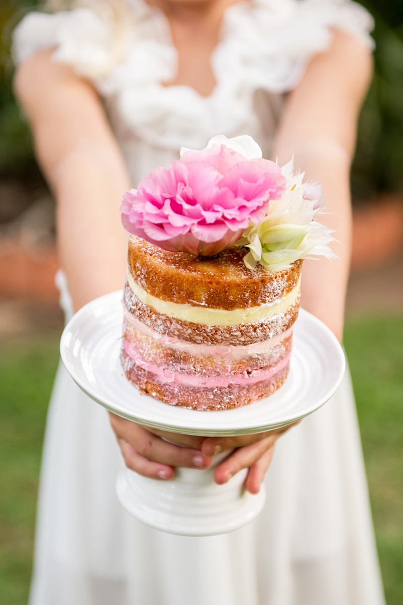 Ombre pink naked cake