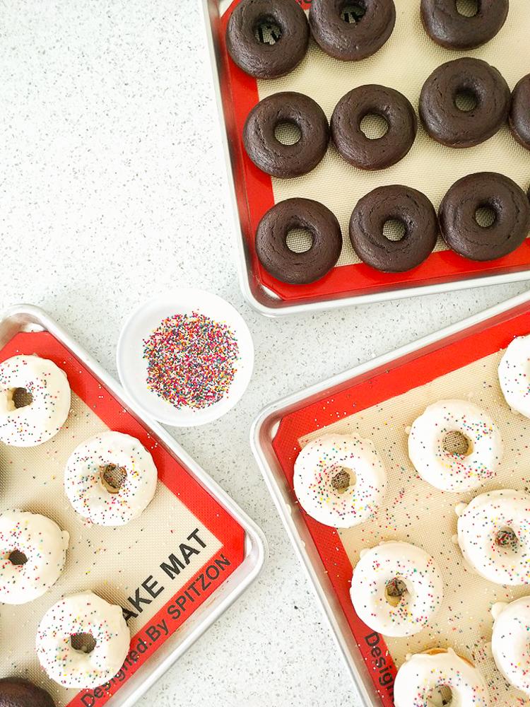 white chocolate vanilla cake doughnuts