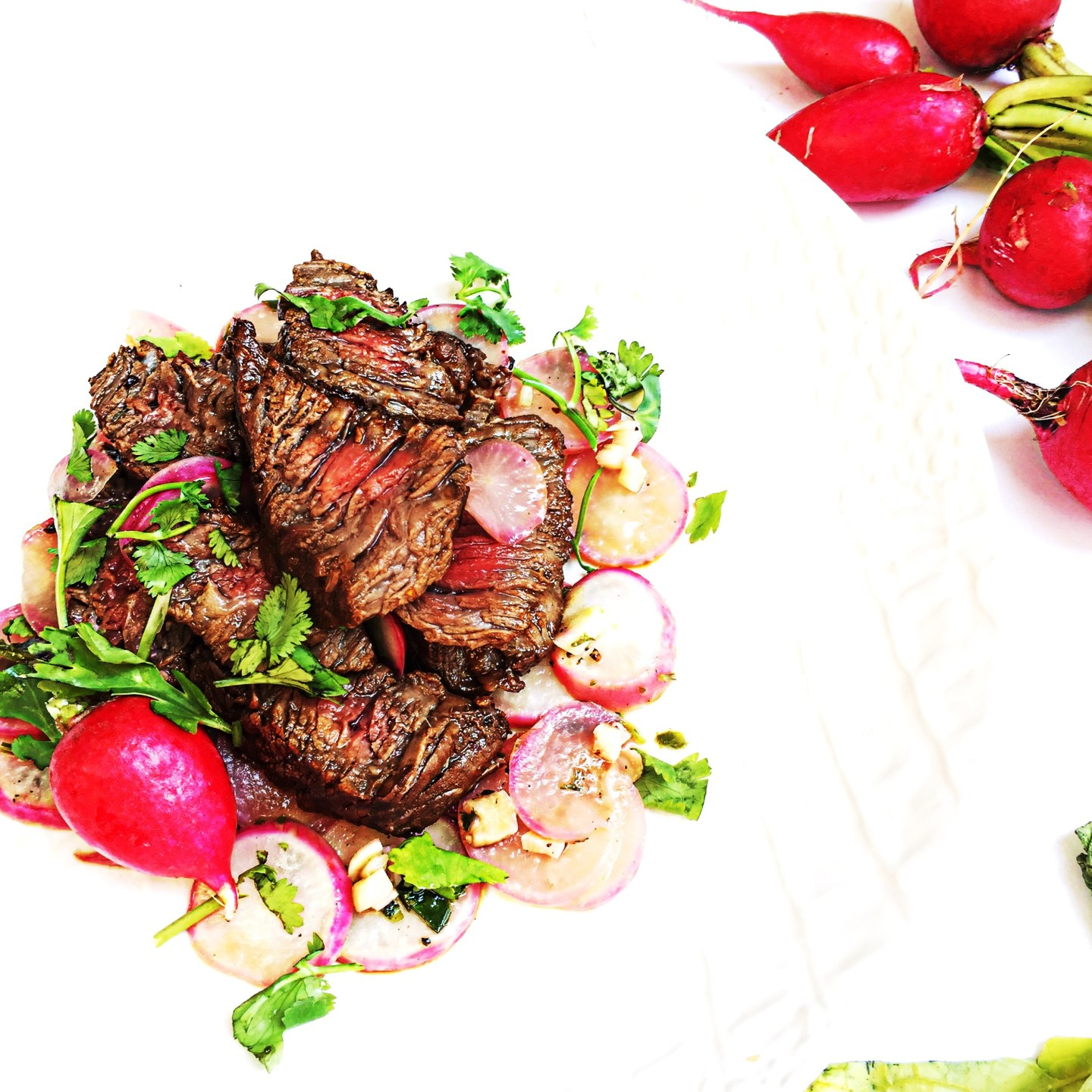 Marinated Steak over Grilled Radishes and Cilantro