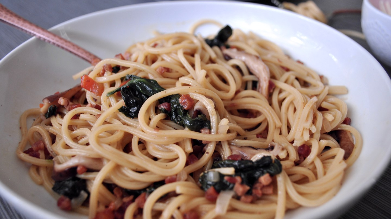 Shiitake and Pancetta Pasta