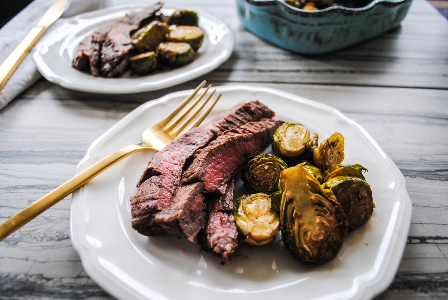 Food Blogger Jenny Meassick of Chocolate and Lace shares her recipe for Flank Steaks and Honey Balsamic Brussel Sprouts