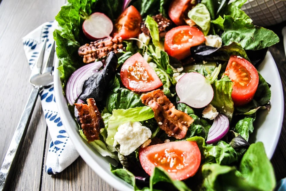 Crowd Pleasing BLT Salad Recipe Powered by Backyard Farms Tomatoes