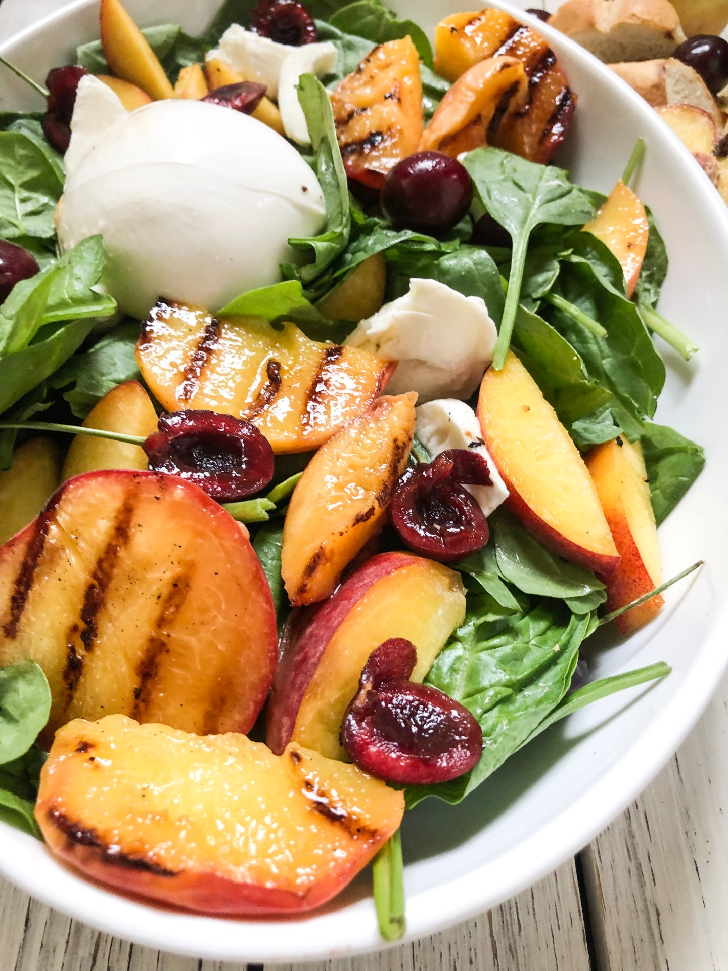 Lifestyle Blogger Chocolate & Lace shares her recipe for Grilled Peach and Burrata Salad.