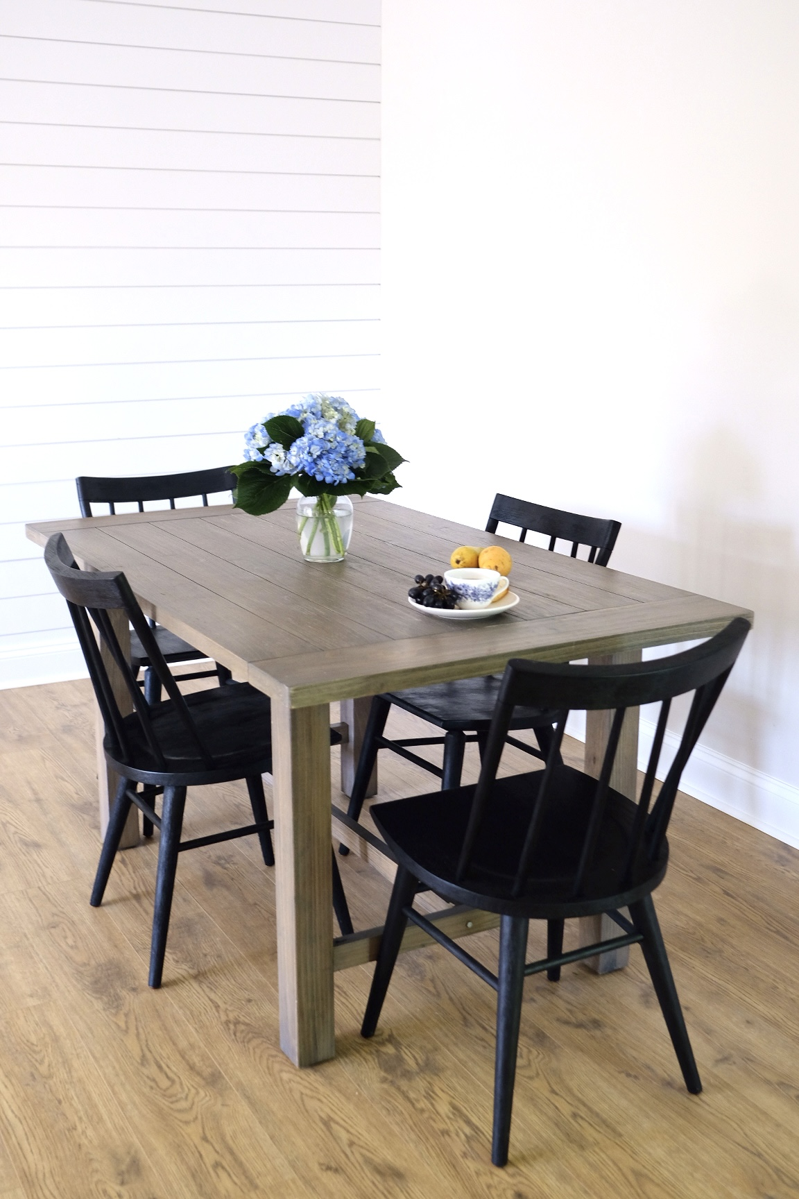 Black Farmhouse Style Dining Chairs and Table