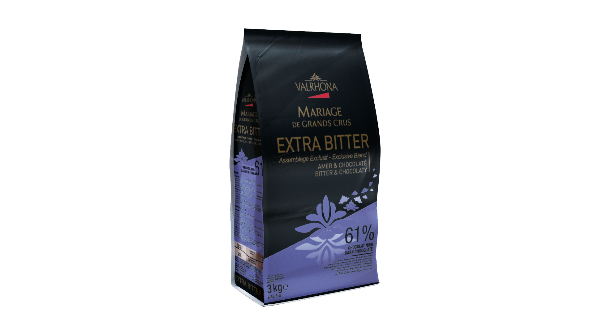 "Valrhona 61% Dark Chocolate ""Extra Bitter"" Feves #4657"