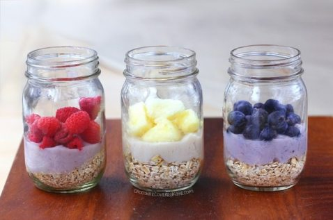 Image result for oatmeal  and berries in a mason jar