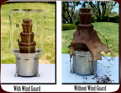 Chocolate fountain with wind guard
