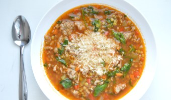 Sausage Lentil Soup with Basil and Spinach