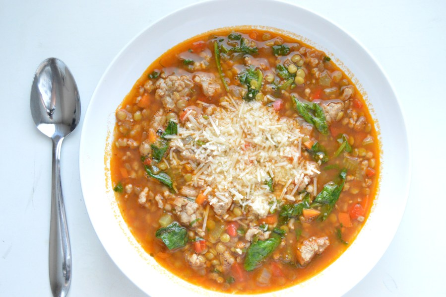 Sausage and Lentil Soup with Spinach
