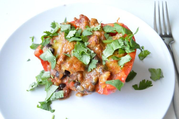 Turkey and Black Bean Enchilada Stuffed Peppers