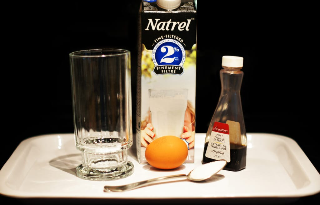 Ingredients milk vanilla eggs egg sugar spoon tray natrel
