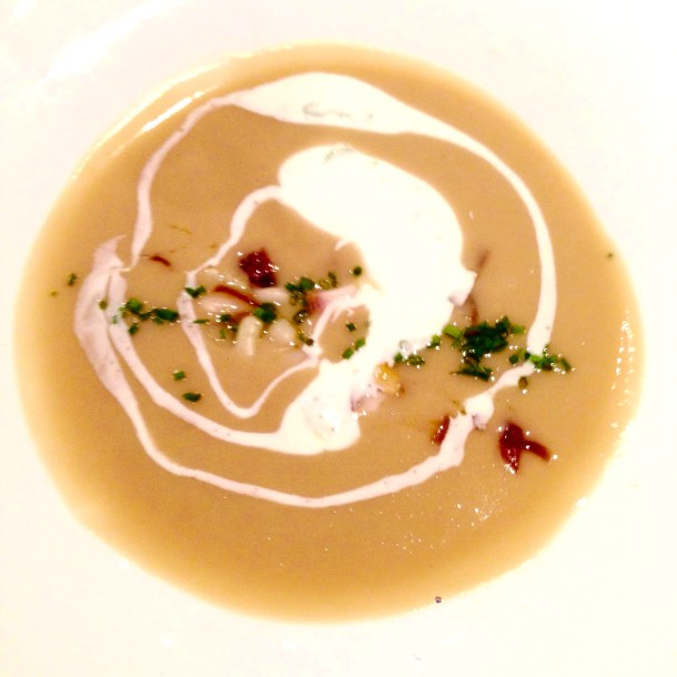 white bean veloute, veloute, auberge du pommier, winterlicious, restaurant, review, restaurant review, soup, veloute, toronto, canada
