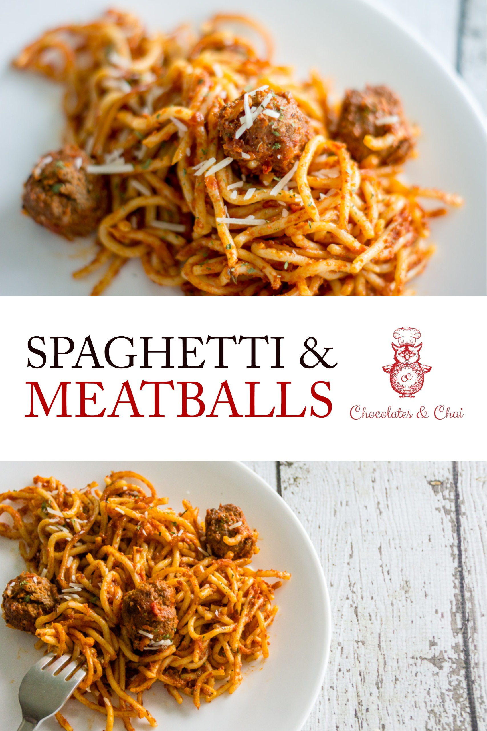 Spaghetti & Meatballs pinterest image showing two horizontal photos.