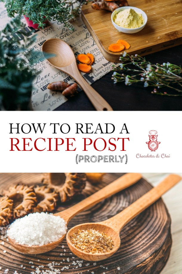 "A vertical image for pinterest with a photo of a table at the top and measuring spoons underneath, separated by the text ""How to Read a Recipe Post (Properly)"""