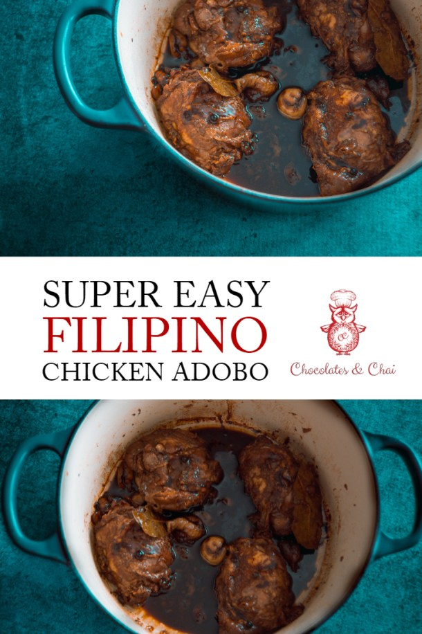 Two photos of chicken adobo in a green dish stacked on top of one another, separated by text that says Super Easy Filipino Chicken Adobo