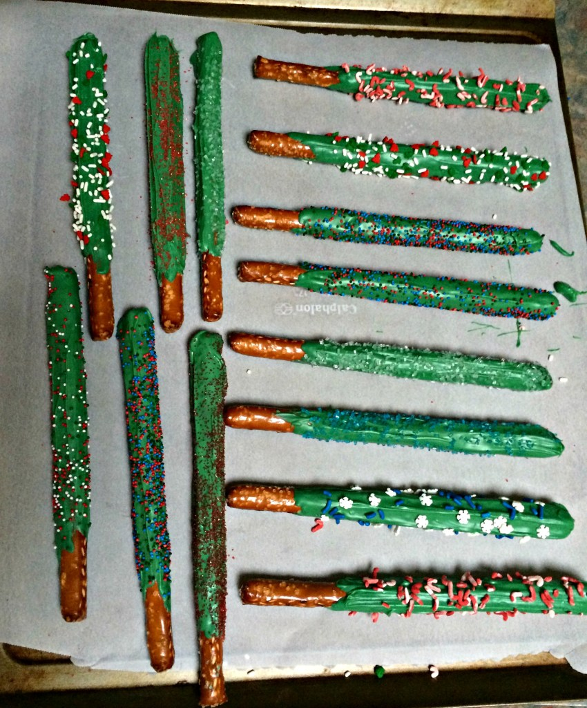 Candy Coated Christmas Pretzels
