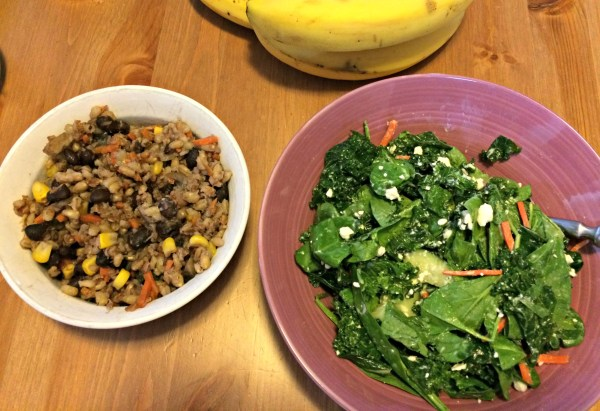 kale and spinach salad with bulgar and barley casserole
