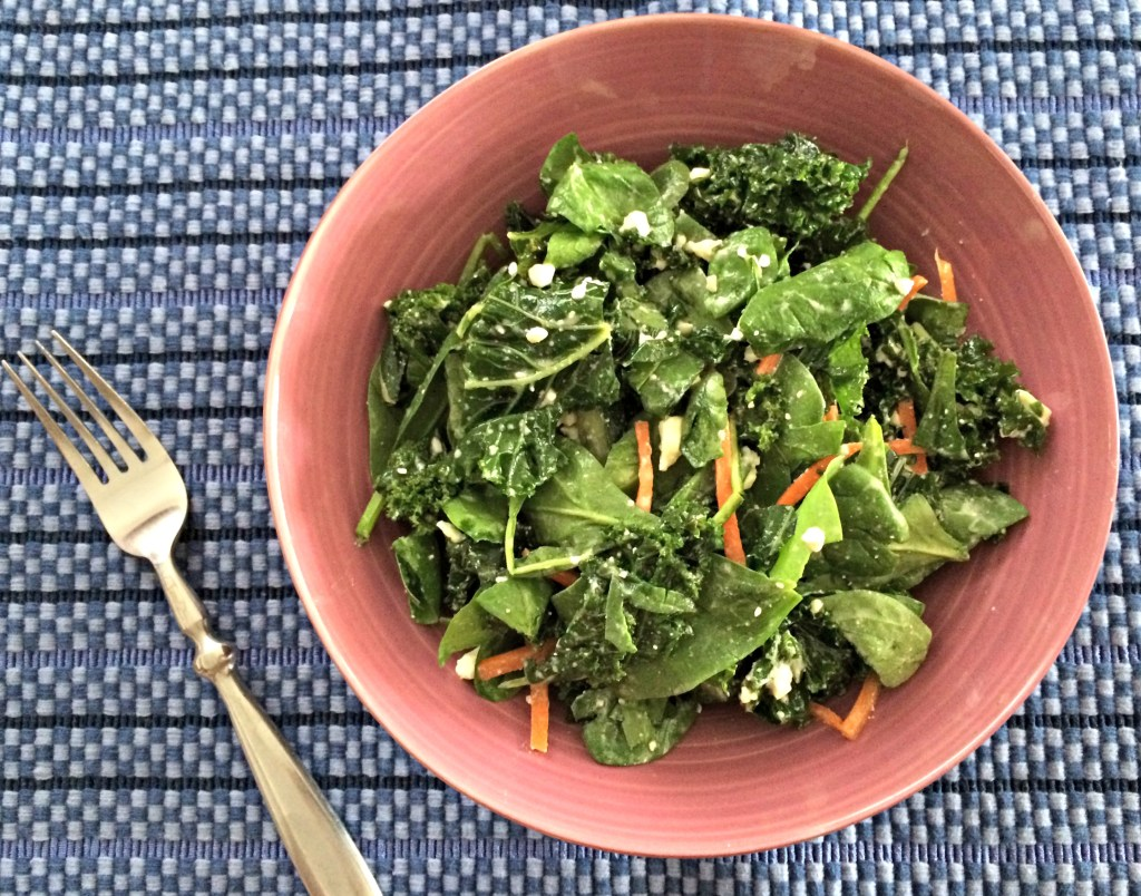 Kale and Feta Salad {with Homemade Honey Vinegar Dressing}