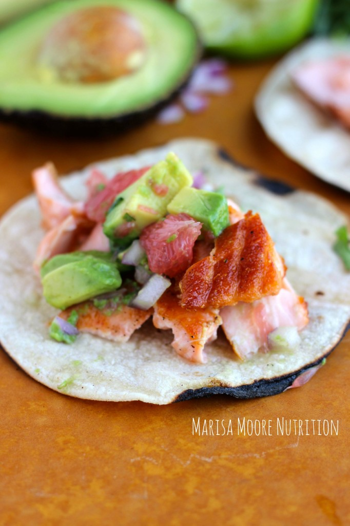 Grapefruit-Glazed-Salmon-Tacos-with-Grapefruit-Avocado-Salsa-on-marisamoore.com Marisa Moore