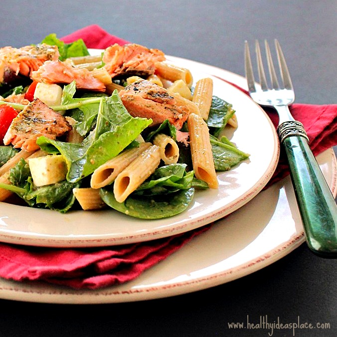 Marie Dittmer Pesto-Pasta-Salad-with-Grilled-Salmon