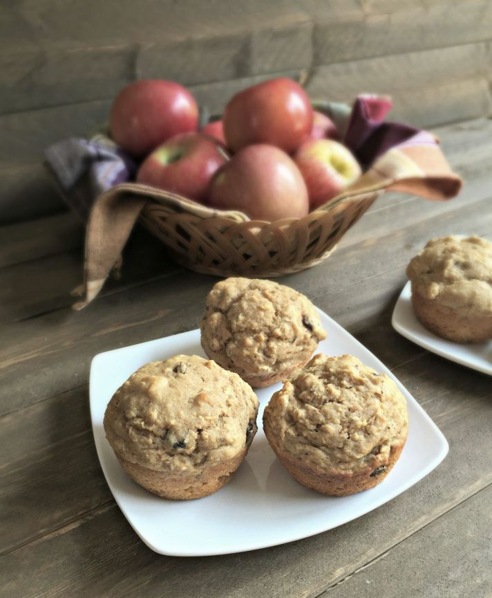 Whole Wheat Apple Raisin Muffins