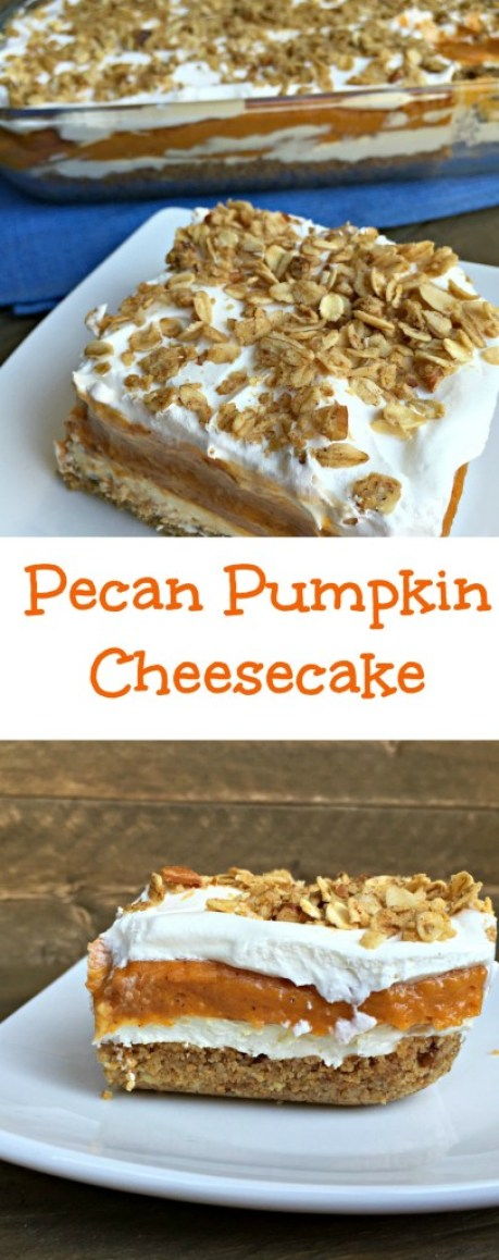 Lightened Up Pecan Pumpkin Cheesecake