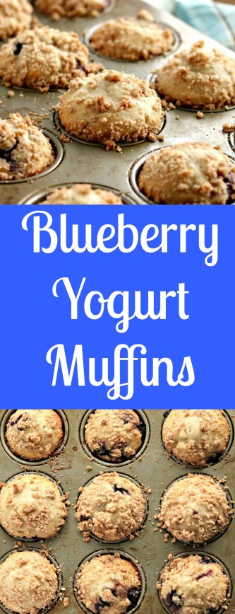 blueberry yogurt muffins with streusel topping