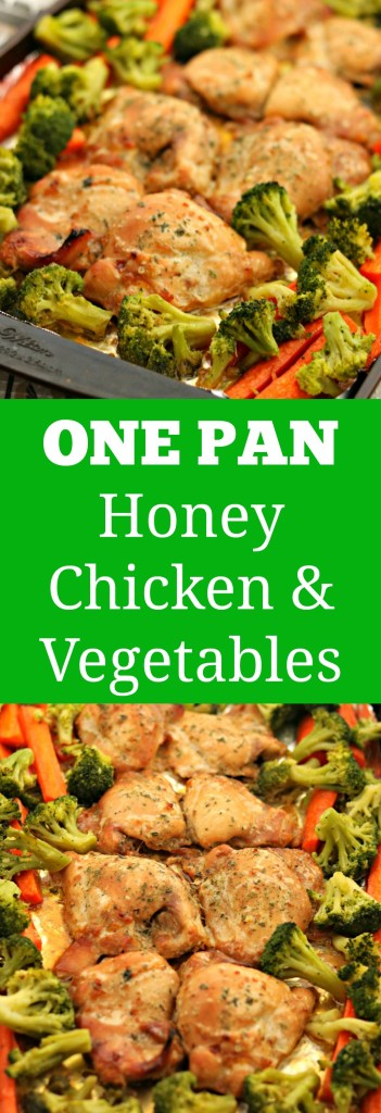 one pan honey chicken thighs and vegetables